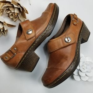 KLOGS - 9m Brown leather Clog Booties silver